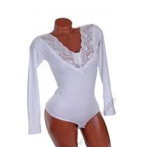 Дамска блуза - боди с дантела в бяло и черно