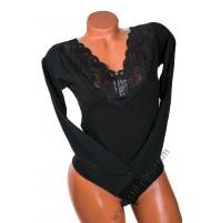 L L-96 Дамска блуза боди с дантела в черно