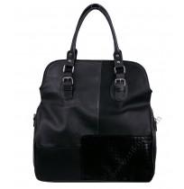 Голяма кожена чанта в черно
