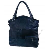 Голяма кожена чанта в синьо