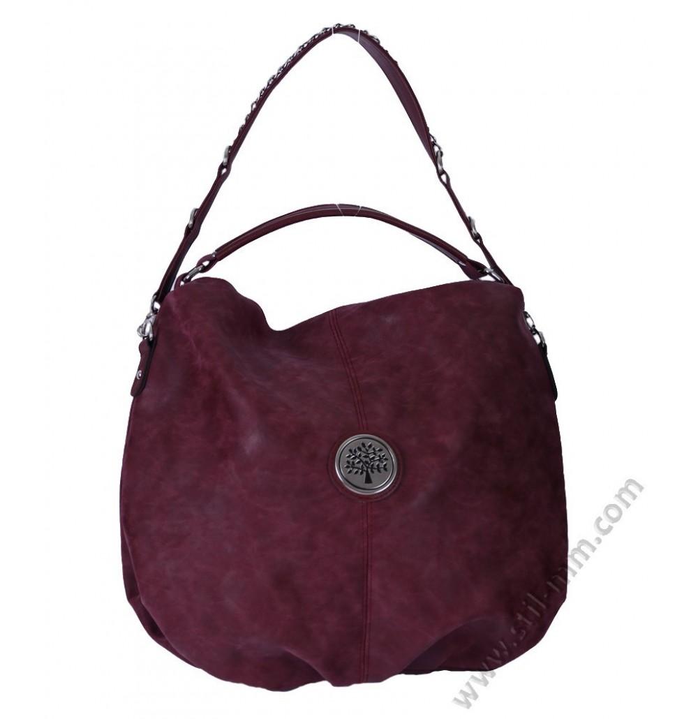 Дамска стилна чанта торба в бордо