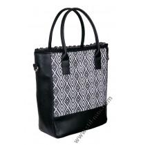 Голяма дамска чанта в черно и бяло с дантела