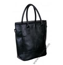 Голяма дамска чанта в черно с дантела