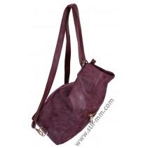 Кожена чанта и раница в едно цвят бордо мейс