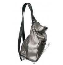 Сребриста кожена чанта и раница в едно
