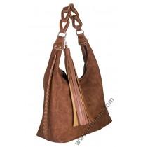 Голяма дамска чанта в цвят карамел мейс