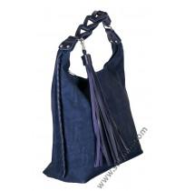 Голяма дамска чанта в син мейс