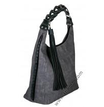 Голяма дамска чанта в сив мейс