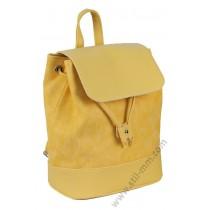 Стилна кожена раница в жълто