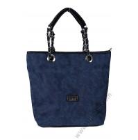 Голяма кожен чанта в синьо