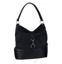 Стилна кожена чанта торба в черно