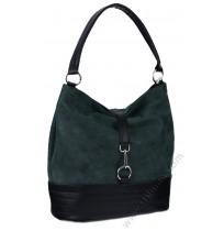 Стилна кожена чанта торба в тъмно зелено