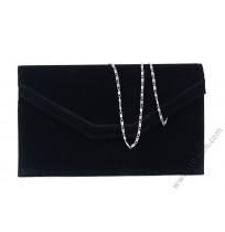 Велурена официална чанта плик в черно