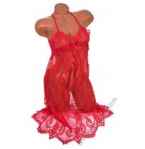 Дантелена дамска нощница с прашка в червено