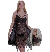 Дантелена дамска нощница с прашка в черно