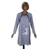 Памучна нощница за бременни и кърмачки с дълъг ръкав
