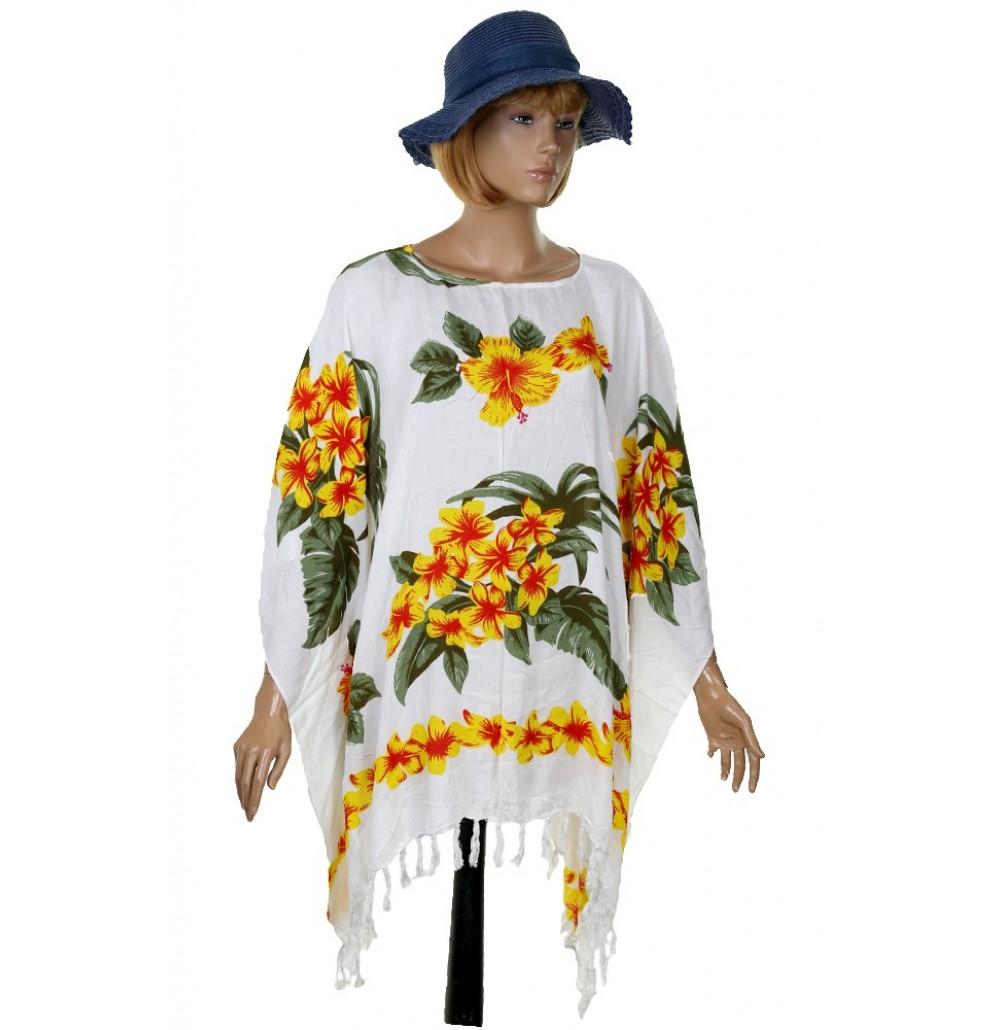 Красива памучна туника с жълти цветя