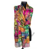 Луксозен шал от фина вълна с две лица в 2 цвята