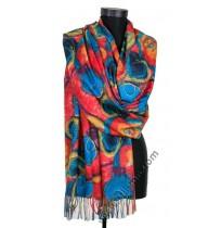 3848 Дамски шал от фина вълна в червено и синьо