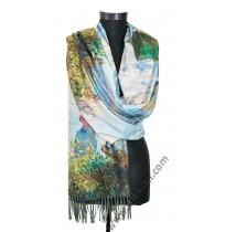 """38511 Кашмирен шал с картина """"Жената със слънчобрана"""""""