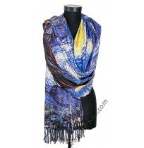 """38510 Кашмирен шал с картина """"Звездна нощ"""""""