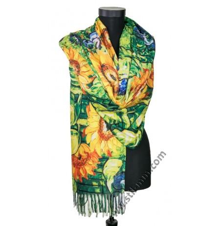 Красив шал от фина вълна със слънчогледи