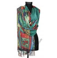 Кашмирен дамски шал с картина