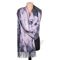 3844 Кашмирен шал с картина на котета в сиво
