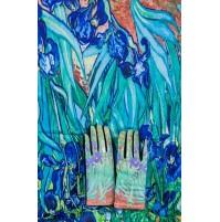 """8080-12 Кашмирен шал и ръкавици с картина """"Ириси"""""""