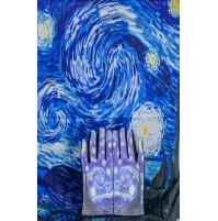 """8080-10 Кашмирен шал и ръкавици с картина """"Звездна нощ"""""""