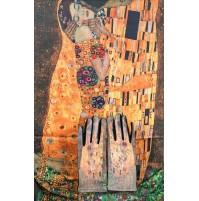 """8080-9 Кашмирен шал и ръкавици с картина """"Целувката"""""""