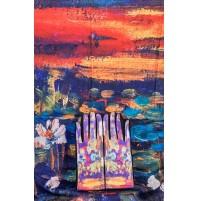 """8080-1 Кашмирен шал и ръкавици с картина """"Водни лилии"""""""