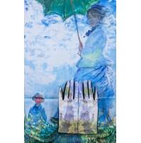 """8080-8 Кашмирен шал и ръкавици с картина """"Жената със слънчобрана"""""""