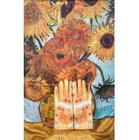 """8080-3 Кашмирен шал и ръкавици с картина """" Ваза със слънчогледи"""""""
