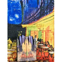 """8081-1 Кашмирен шал и ръкавици с картина """"Кафе тераса през ноща"""""""