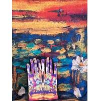"""8081-5 Кашмирен шал и ръкавици с картина """"Водни лилии"""""""