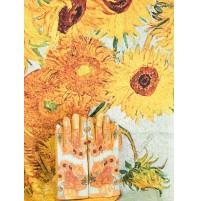 """8081-2 Кашмирен шал и ръкавици с картина """"Ваза със слънчогледи"""""""