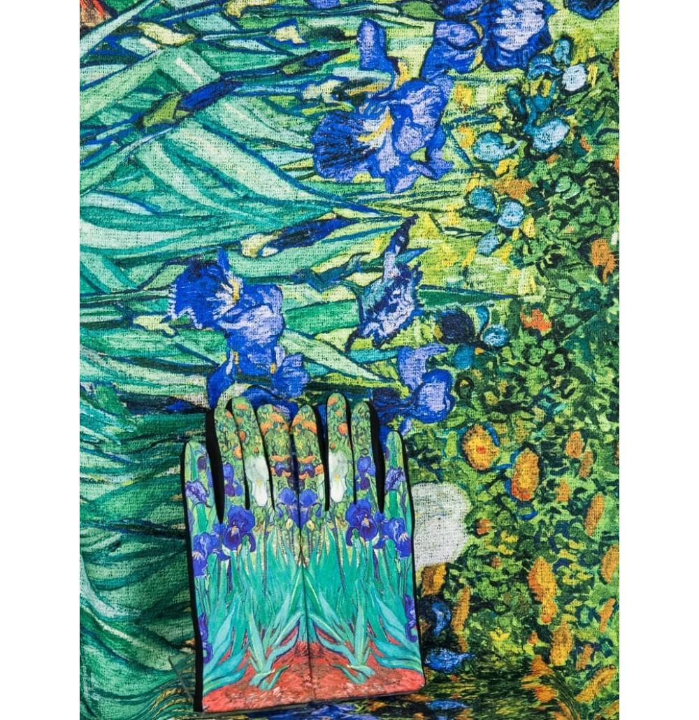 """8081-3 Кашмирен шал и ръкавици с картина """"Ириси"""""""