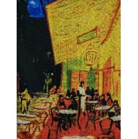 Дамски шал от серия картини - Кафе тераса през ноща