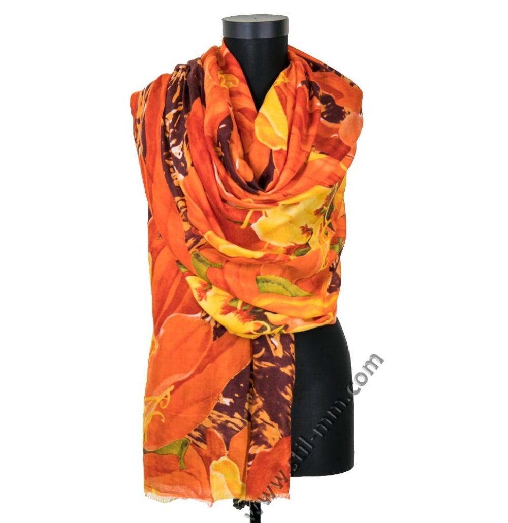 Красив дамски шал с цветя в 2 цвята
