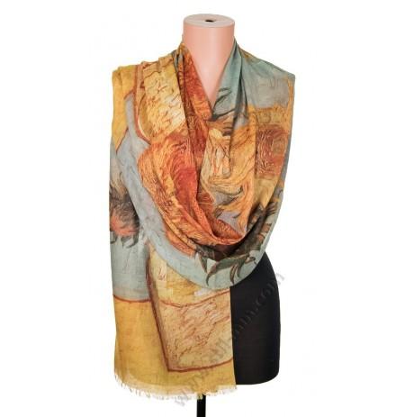 """1418-10 Дамски памучен фин шал с картина """"Ваза със слънчогледи"""""""