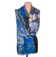 1418-9 Дамски памучен фин шал с картина