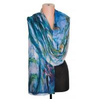 1418-8 Дамски памучен фин шал с картина