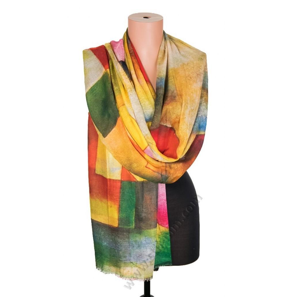 1418-7 Дамски памучен фин шал с картина