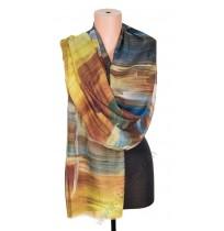 1418-6 Дамски памучен фин шал с картина