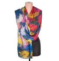 1418-5 Дамски памучен фин шал с картина