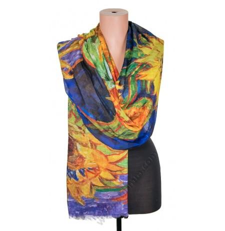 1418-3 Дамски памучен фин шал с картина