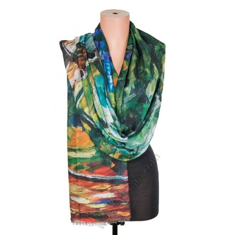 1418-2 Дамски памучен фин шал с картина