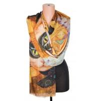 1418-1 Дамски памучен фин шал с картина