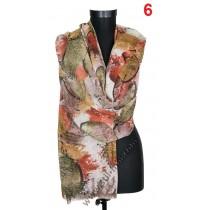 Красив дамски шал с цветя и пеперуди в 4 цвята